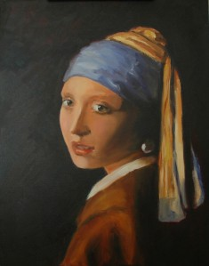 Here's an oil study of Vermeer's Girl with the Pearl Earring I did several years ago. I learned a lot about how to create depth and roundness, as well as how to paint cloth.
